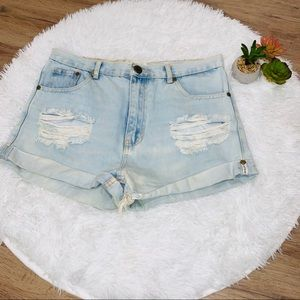 One Teaspoon Outlaw Light wash Jean shorts size 29